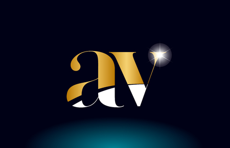 gold golden alphabet letter av a v logo icon combination design suitable for a company or business