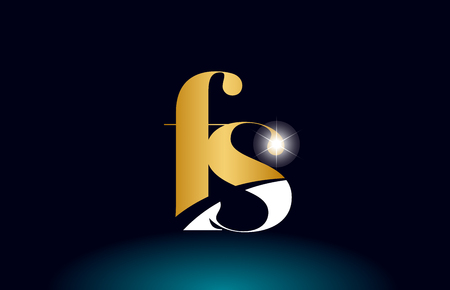 gold golden alphabet letter fs f s logo icon combination design suitable for a company or business