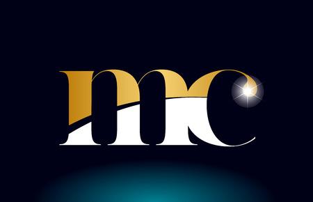 gold golden alphabet letter mc m c logo icon combination design suitable for a company or business