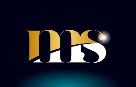 gold golden alphabet letter ms m s logo icon combination design suitable for a company or business Ilustração