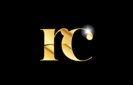 gold golden metal metallic alphabet letter rc r c logo icon design for a company or business