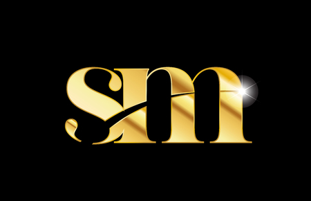 gold golden metal metallic alphabet letter sm s m logo icon design for a company or business