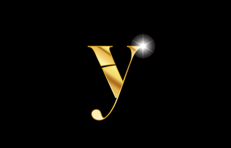 gold golden metal metallic alphabet letter y logo icon design for a company or business