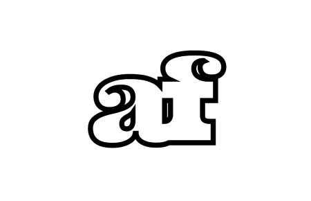 Connected or joined af a f black alphabet letter combination suitable as a logo icon design for a company or business