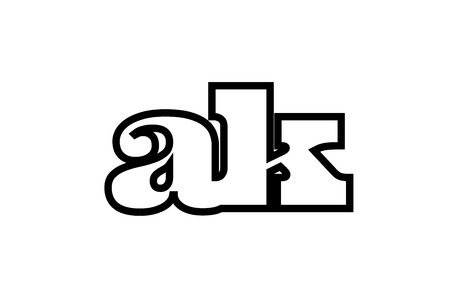 Connected or joined ak a k black alphabet letter combination suitable as a logo icon design for a company or business