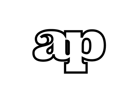 Connected or joined ap a p black alphabet letter combination suitable as a logo icon design for a company or business Ilustração
