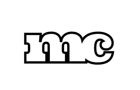 Connected or joined mc m c black alphabet letter combination suitable as a logo icon design for a company or business