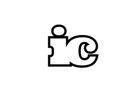 Connected or joined ic i c black alphabet letter combination suitable as a logo icon design for a company or business