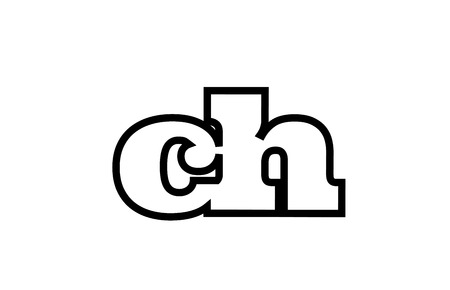 Connected or joined ch c h black alphabet letter combination suitable as a logo icon design for a company or business