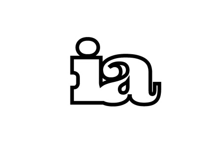 Connected or joined ia i a black alphabet letter combination suitable as a logo icon design for a company or business