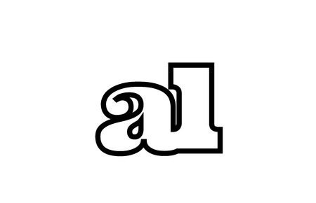 Connected or joined al a l black alphabet letter combination suitable as a logo icon design for a company or business