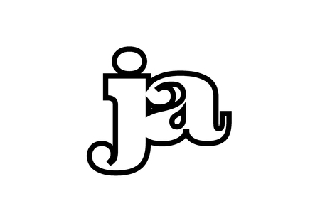 Connected or joined ja j a black alphabet letter combination suitable as a logo icon design for a company or business