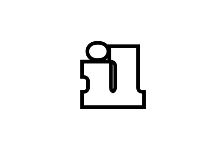 Connected or joined il i l black alphabet letter combination suitable as a logo icon design for a company or business