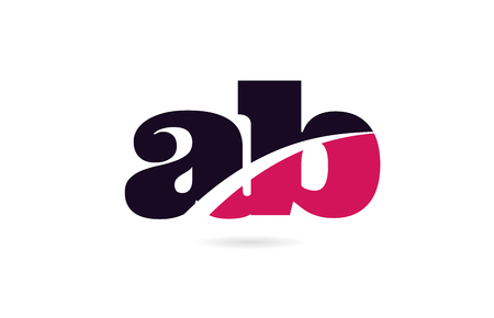 ab a b pink and black alphabet letter combination suitable as a logo icon design for a company or business Illustration
