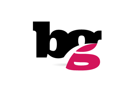 bg b g pink and black alphabet letter combination suitable as a logo icon design for a company or business Vectores