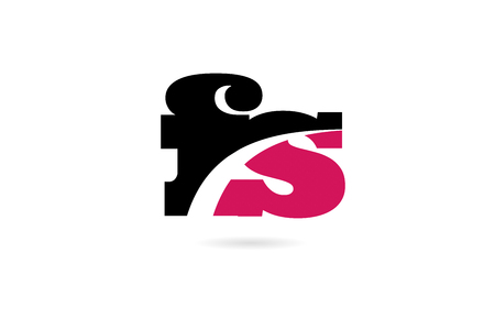 fs f s pink and black alphabet letter combination suitable as a logo icon design for a company or business Ilustração