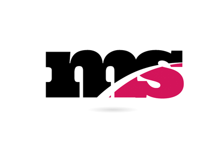 ms m s pink and black alphabet letter combination suitable as a logo icon design for a company or business 向量圖像