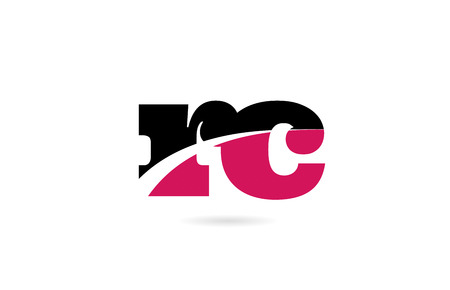 rc r c pink and black alphabet letter combination suitable as a logo icon design for a company or business