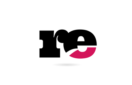 re r e pink and black alphabet letter combination suitable as a logo icon design for a company or business
