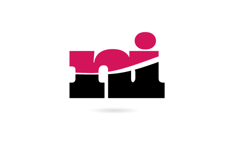 ni n i pink and black alphabet letter combination suitable as a logo icon design for a company or business Illustration
