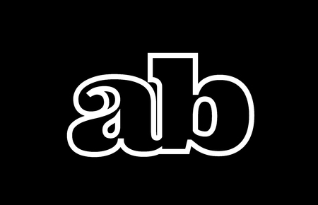 Connected or joined ab a b black alphabet letter combination suitable as a logo icon design for a company or business