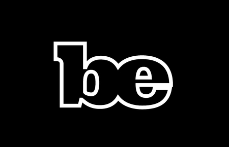 Connected or joined be b e black alphabet letter combination suitable as a logo icon design for a company or business Ilustração