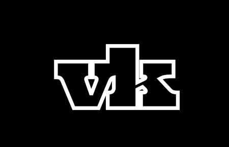 Connected or joined vk v k black alphabet letter combination suitable as a logo icon design for a company or business