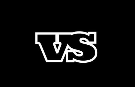 Connected or joined vs v s black alphabet letter combination suitable as a logo icon design for a company or business