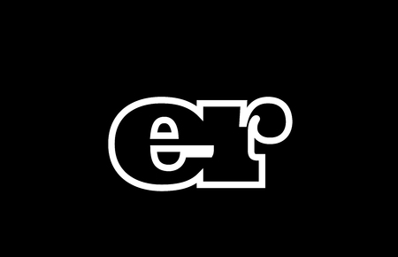 Connected or joined er e r black alphabet letter combination suitable as a logo icon design for a company or business