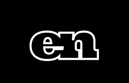 Connected or joined en e n black alphabet letter combination suitable as a logo icon design for a company or business