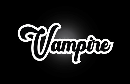 Vampire hand written word text for typography iocn design in black and white color. Can be used for a logo, branding or card