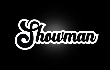 Showman hand written word text for typography iocn design in black and white color. Can be used for a logo, branding or card Banque d'images - 122312258
