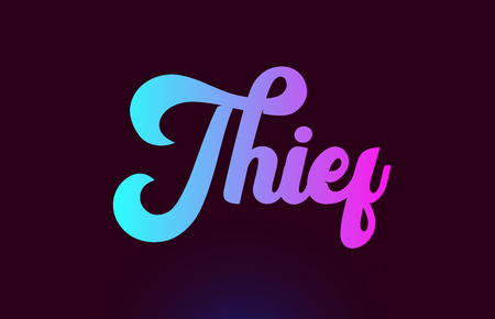Thief pink word or text suitable for card icon or typography logo design Stock Illustratie