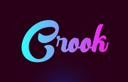 Crook pink word or text suitable for card icon or typography logo design