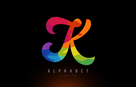 K alphabet letter logo design with rainbow colors suitable for a company or business