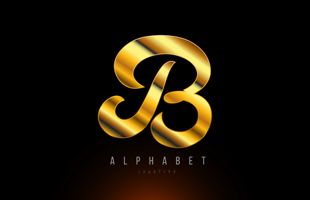 Gold golden letter B logo design with metal look suitable for a company or business