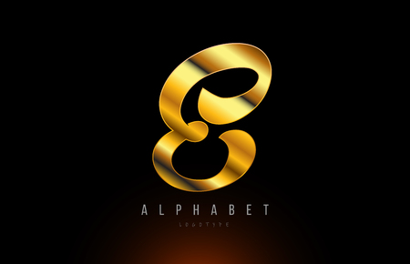 Gold golden letter E logo design with metal look suitable for a company or business