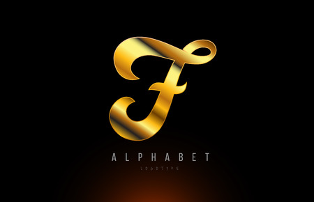 Gold golden letter F logo design with metal look suitable for a company or business