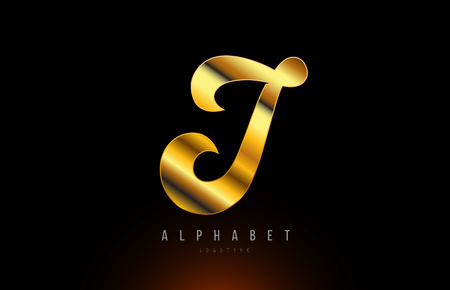 Gold golden letter I logo design with metal look suitable for a company or business Illustration