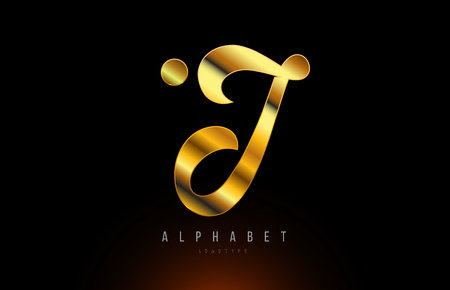 Gold golden letter J logo design with metal look suitable for a company or business