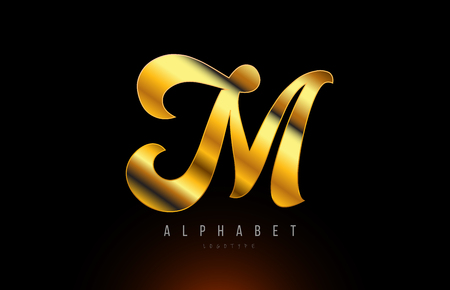 Gold golden letter M logo design with metal look suitable for a company or business