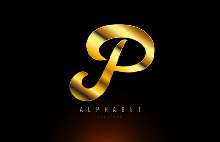 Gold golden letter P logo design with metal look suitable for a company or business