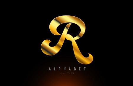 Gold golden letter R logo design with metal look suitable for a company or business 写真素材 - 122312470