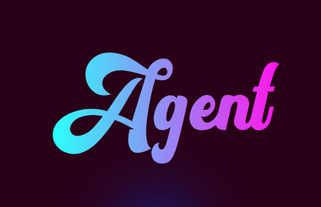 Agent pink word or text suitable for card icon or typography logo design