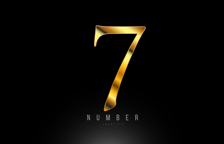 Number gold golden 7 logo design with metal look suitable for a company or business 写真素材 - 122312523