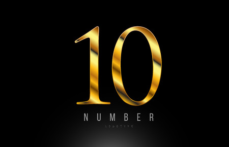 Number gold golden 10 logo design with metal look suitable for a company or business