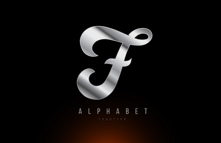 Silver grey metallic letter F logo design with metal look suitable for a company or business