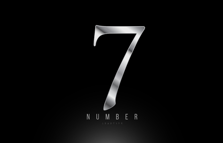 Silver grey metallic number 7 logo design with metal look suitable for a company or business