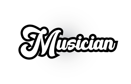 Musician hand written word text for typography iocn design in black and white color. Can be used for a logo, branding or card