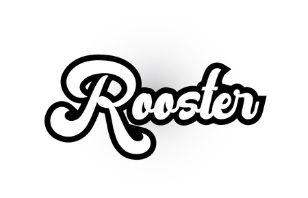 Rooster hand written word text for typography iocn design in black and white color. Can be used for a logo, branding or card
